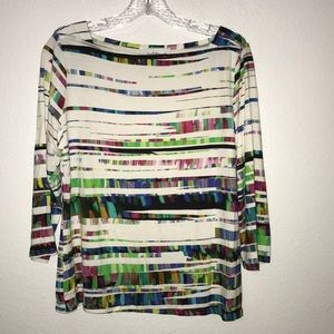 Peck & Peck top white blue red slinky Sz Large